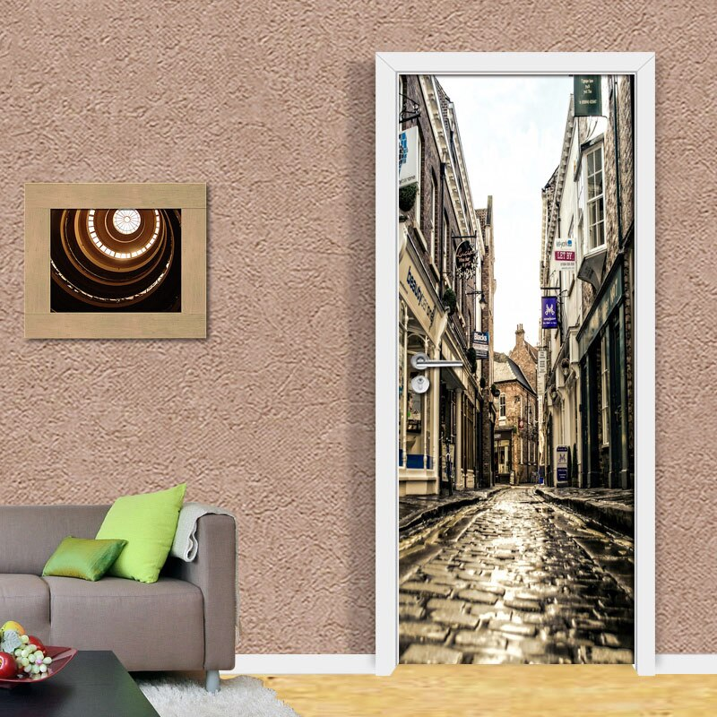 PVC Waterproof Self-adhesive Stickers 3D Wall Paper Mural Evening European City Streets 3D Room Door Wallpaper Home Decor Fresco - WallpaperUniversity