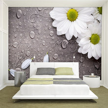Load image into Gallery viewer, Custom 3D Photo Wallpaper Bedroom For Walls White Water Droplets Flower Background Decorative Wall Murals Wallpaper Living Room - WallpaperUniversity