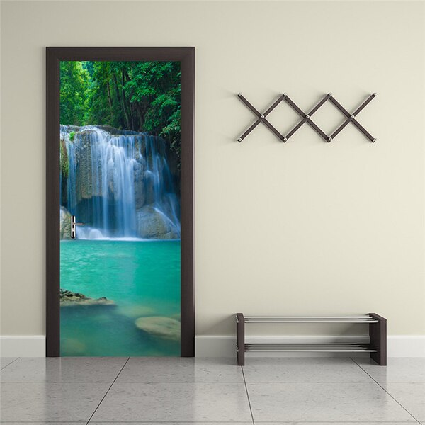 Waterfall Living Room Bedroom 3D Door Sticker Waterproof Wall Paper Door Stickers PVC Self-adhesive Mural Wallpaper Home Decor - WallpaperUniversity