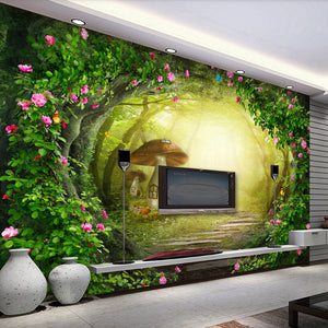 Flower Vine Mushroom House Forest Living Room Background Decor Large Custom Wall Mural Non-woven Fabric Wallpaper For Walls Roll - WallpaperUniversity