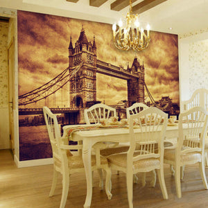 Customize Any Size Office Den Living Room Backdrop Wall Murals European Art Mural 3D Stereo Non-woven Wallpaper London Bridge - WallpaperUniversity