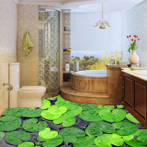 Custom Photo Wallpaper Modern 3D Green Leaves Floor Decor Paintings Bathroom Kitchen Waterproof Non-slip Self-adhesive Wallpaper - WallpaperUniversity