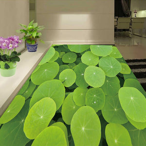 Custom 3D Floor Wallpaper Lotus Leaf Floor Sticker Bathroom Living Room Bedroom Mural Self-adhesive Waterproof Photo Wallpaper - WallpaperUniversity