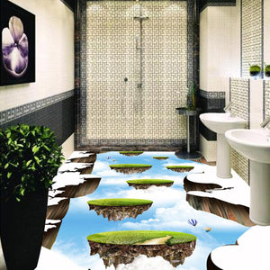 Custom Photo Floor Wallpaper Sky Ladder 3D Floor Paintings Living Room Bathroom Self-adhesive Wear Non-slip Waterproof Wallpaper -