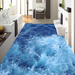 Custom Floor Mural Wallpaper Blue Sea Living Room Bathroom 3D Vinyl Floor Stickers Paintings Self-adhesive Waterproof Wallpaper - WallpaperUniversity