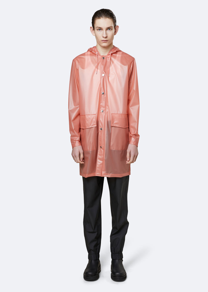 Transparent Hooded Coat - Foggy Coral - cara cara