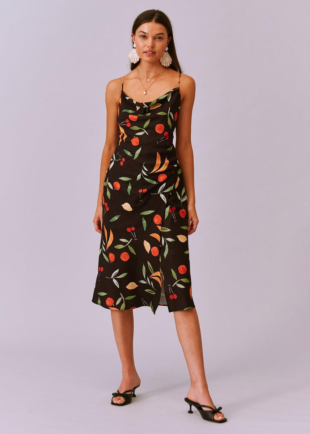 Calypso Midi Dress - Black Fruit - cara cara