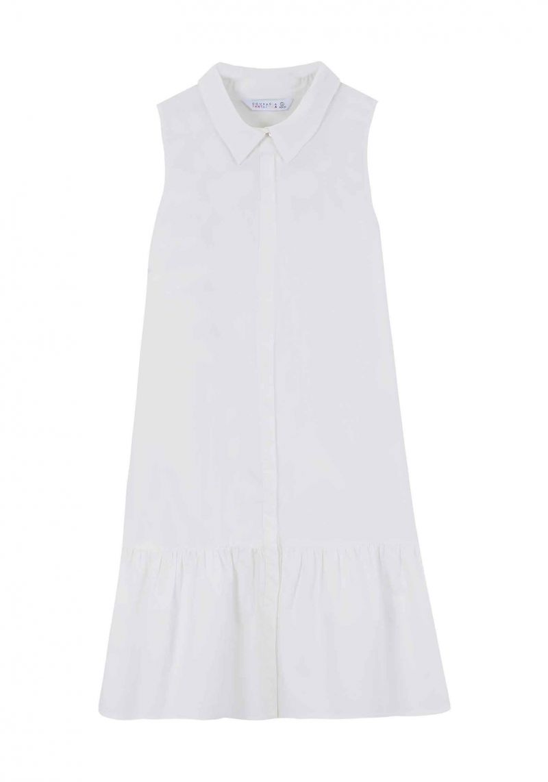 White Ruffle Shirt Dress - cara cara