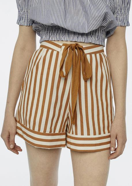 Brown Stripe Shorts - cara cara