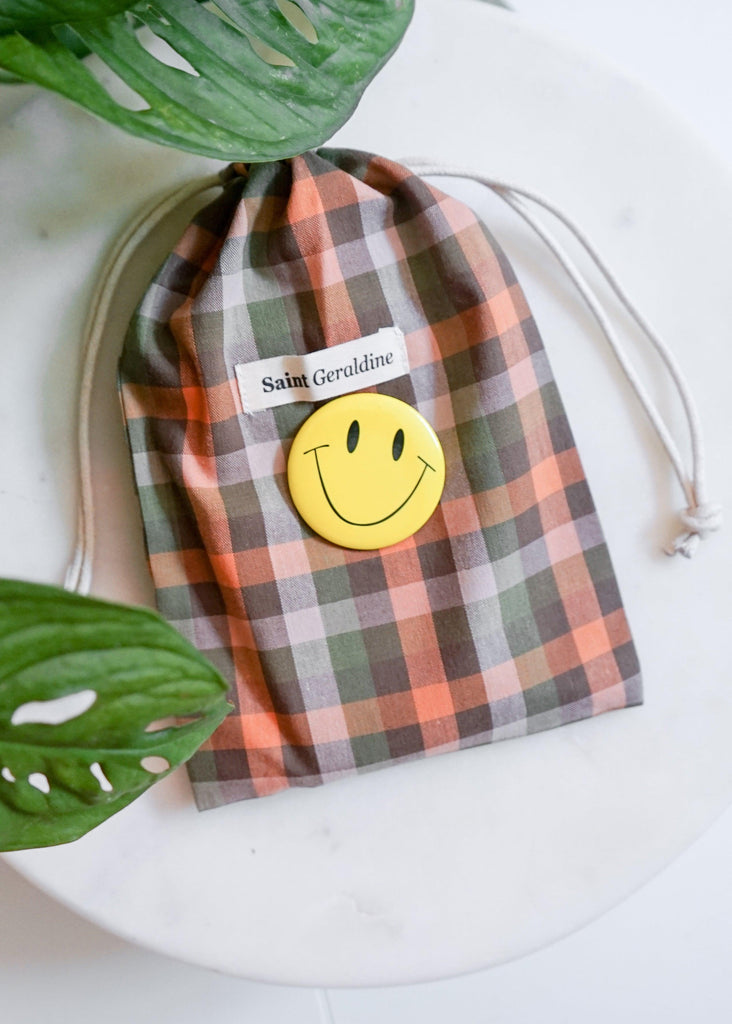 Face Mask, 10 Filters + Pouch - Tangerine Check