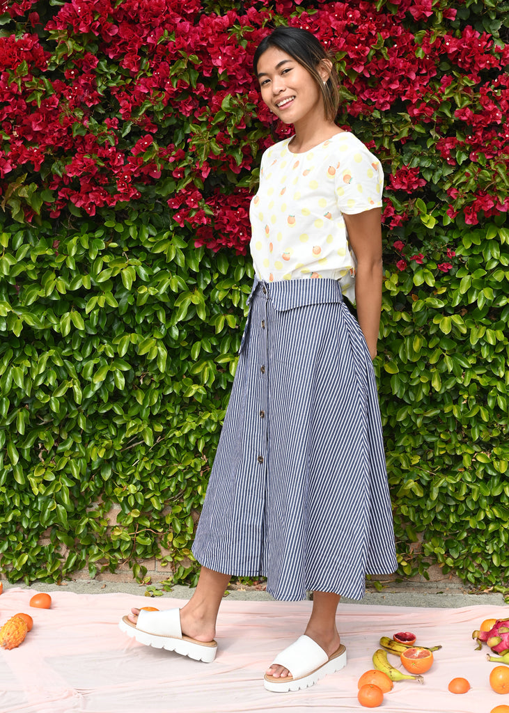 Wolf Skirt - Navy Stripe