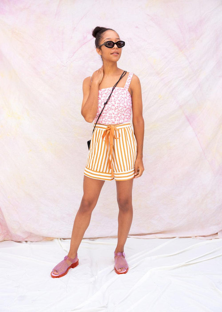 Brown Stripe Shorts