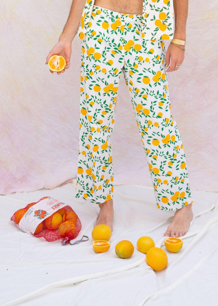 Orange Print Wide Leg Trousers - cara cara