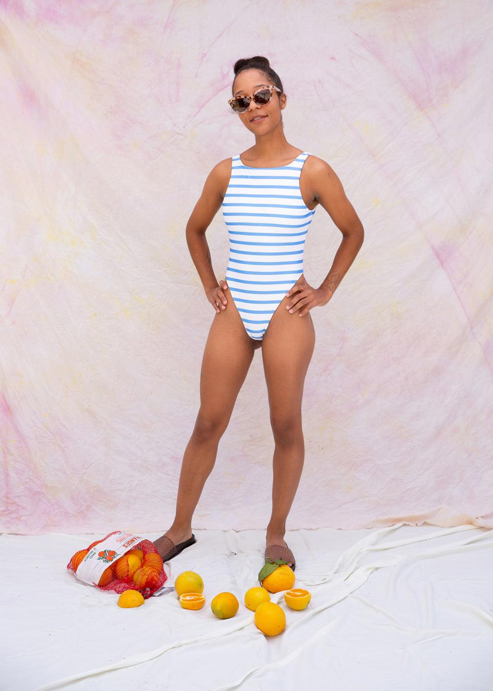 Nantucket Swimsuit - Ocean Stripe - cara cara