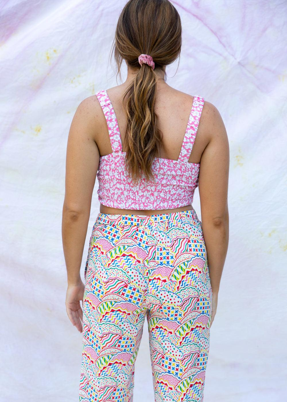 Drawn Flowers Crop Top - cara cara