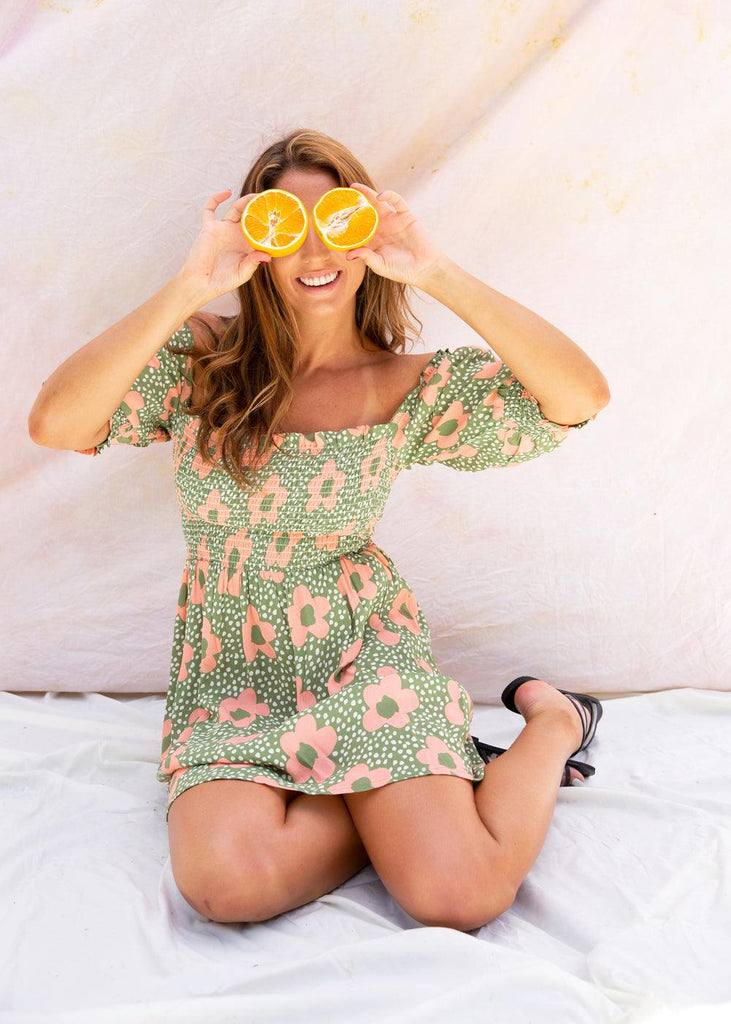 Pink Daisies Short Dress - cara cara