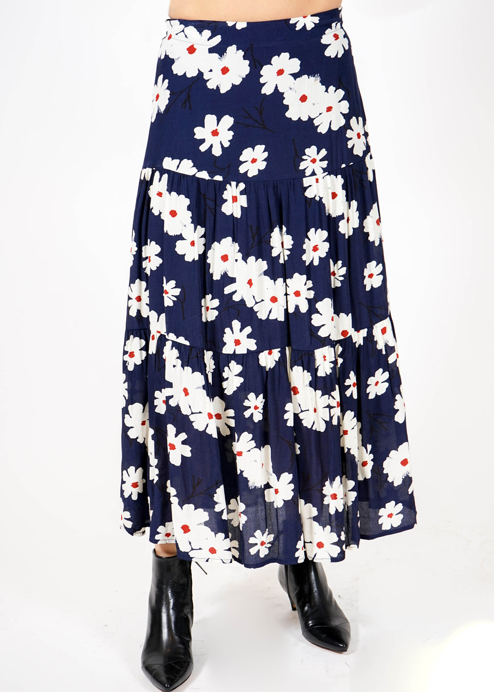 Tiered Skirt - Navy Floral