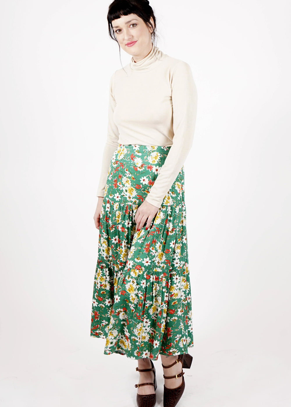 Tiered Skirt - Green Floral