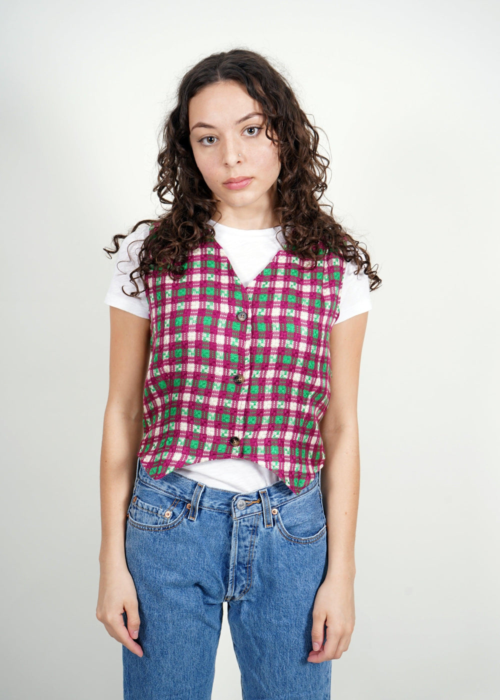 Hester Chenille Woven Plaid Top