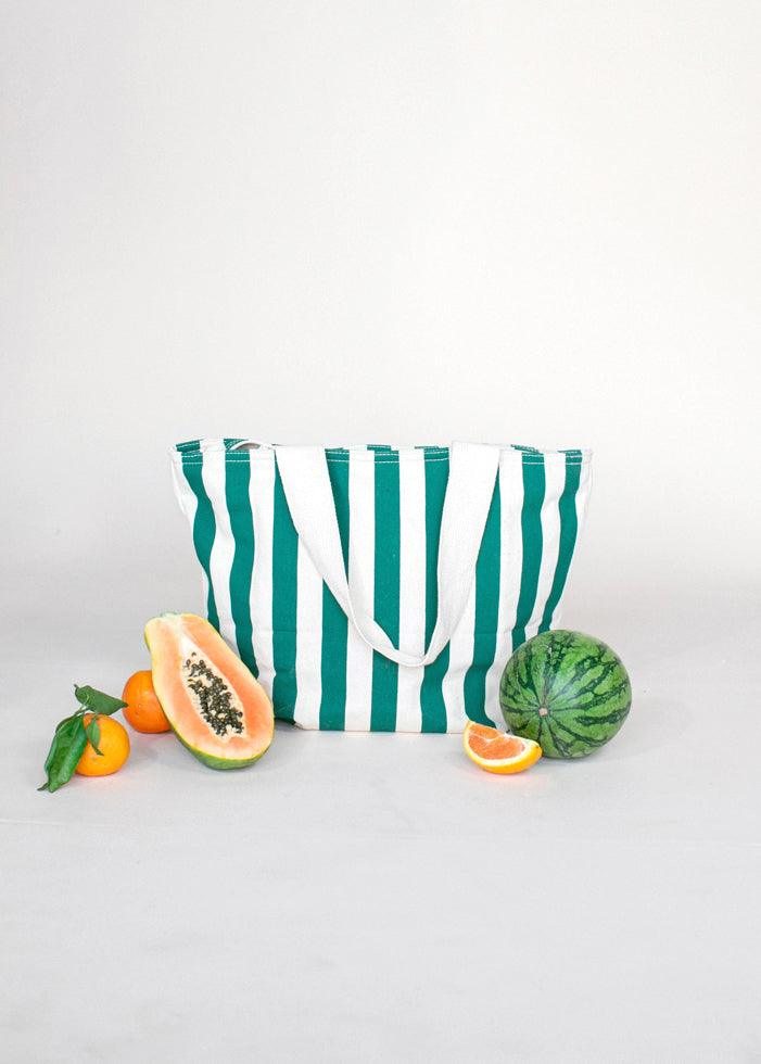 Canvas Zip Tote - Palm Stripe - cara cara