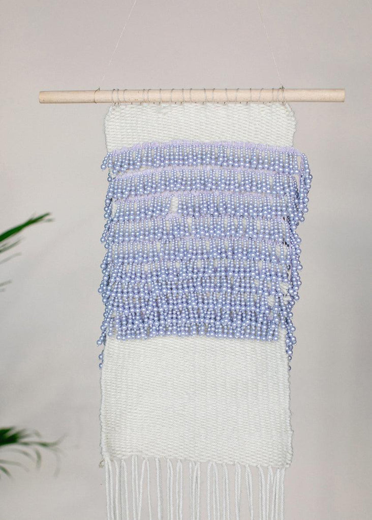 Lilac Beaded Woven Wall Hanging - cara cara