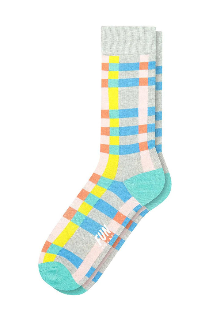 Men's Crew Socks - Multi Check - cara cara