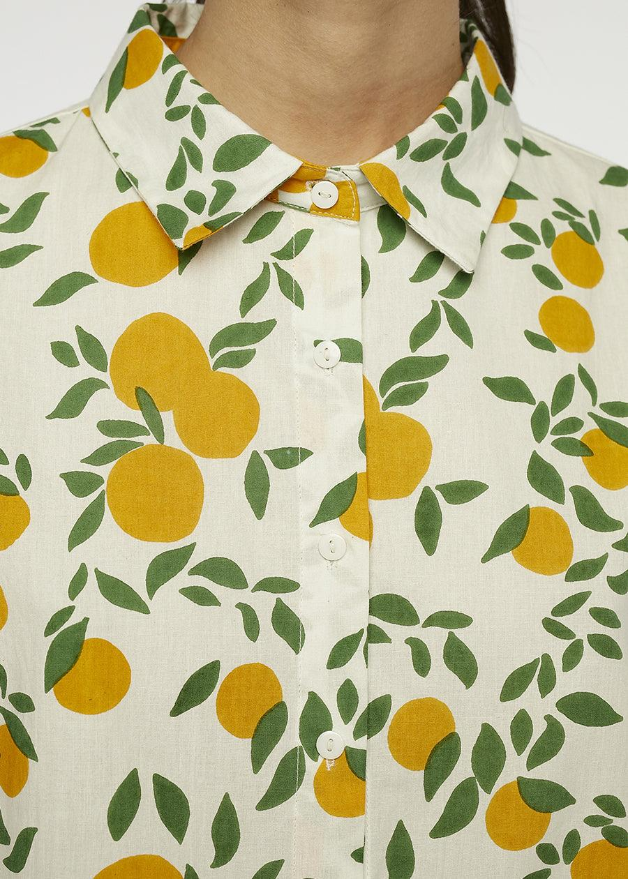 Orange Print Button Down - cara cara