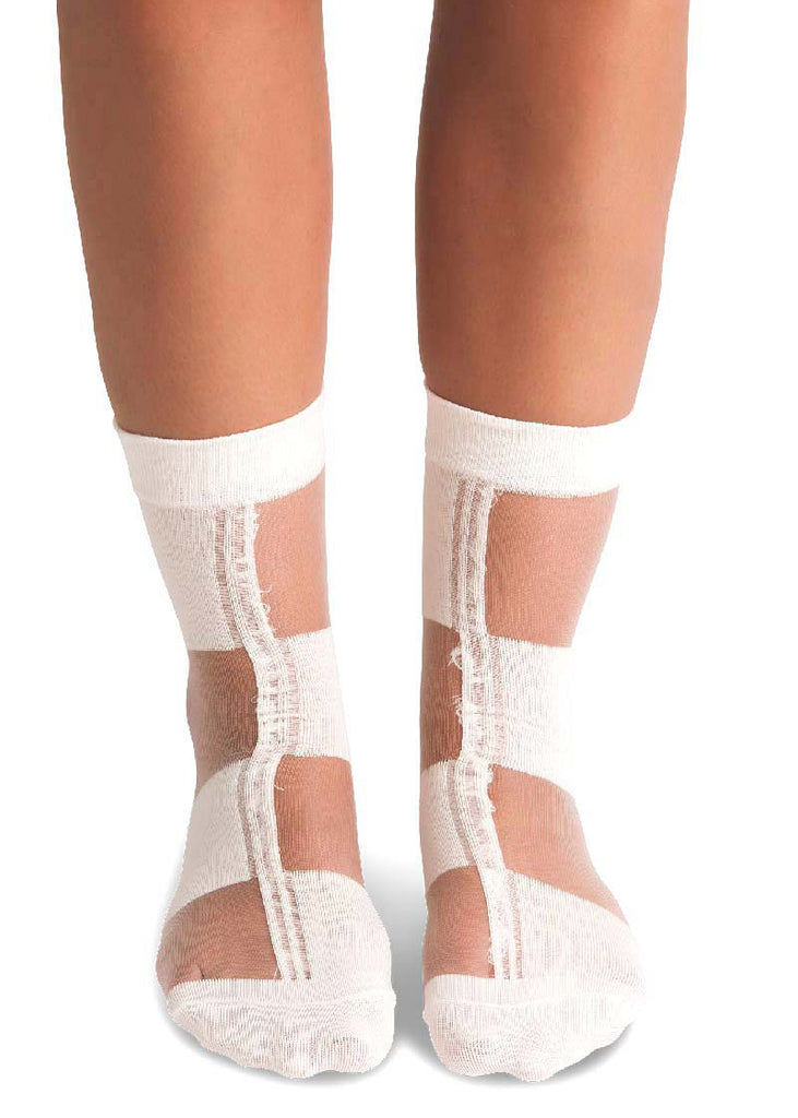 Sheer Socks - White Buffalo Check - cara cara