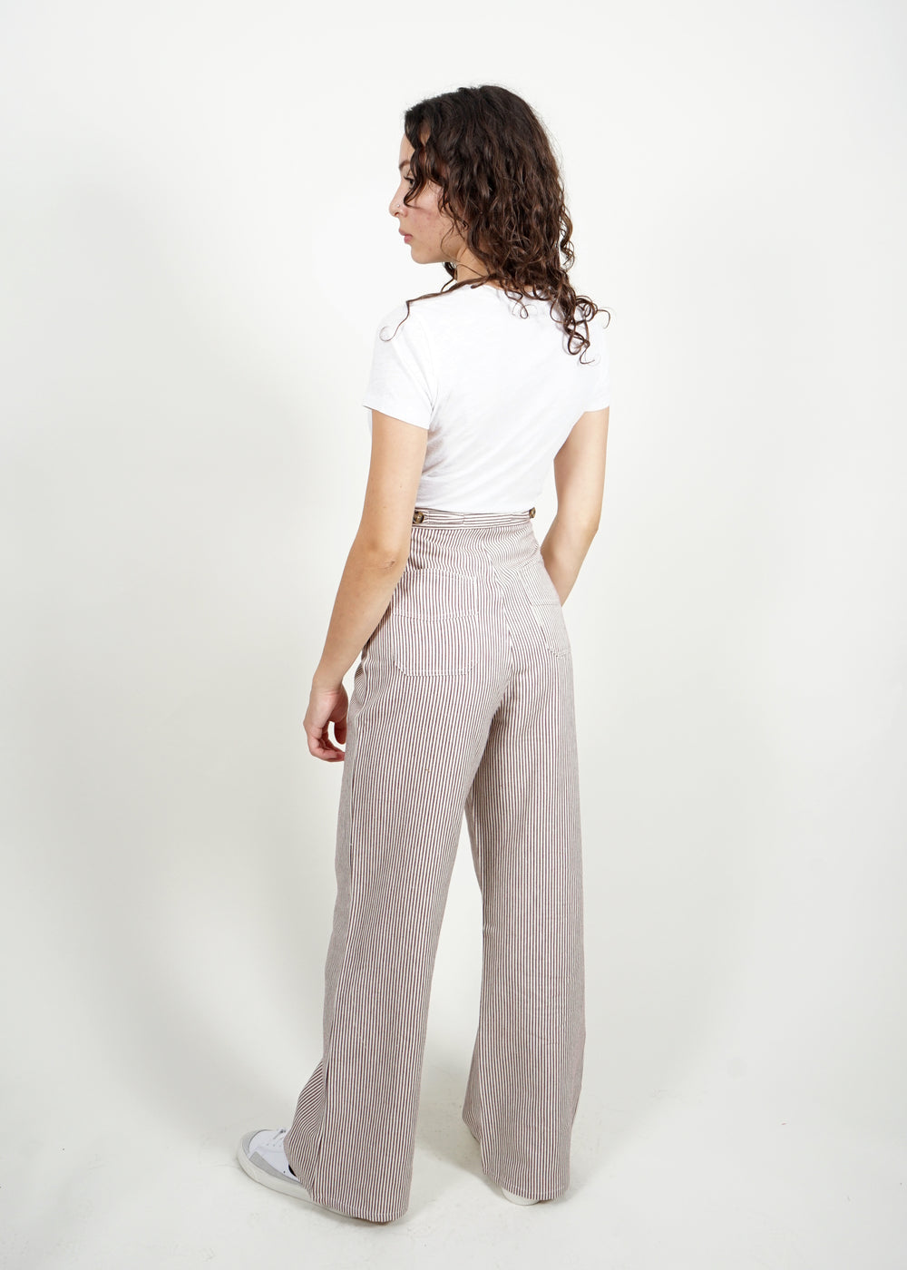 Spencer Pant - Mocha Pin Stripe