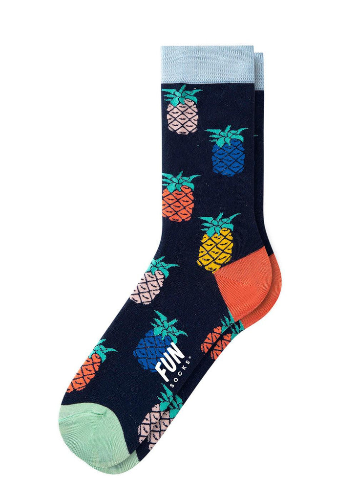 Men's Crew Sock - Navy Pineapple - cara cara