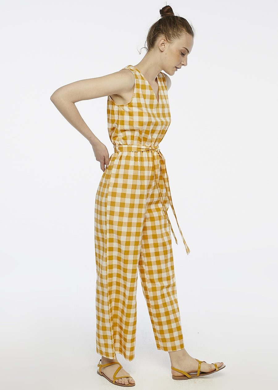 Yellow Check Jumpsuit - cara cara