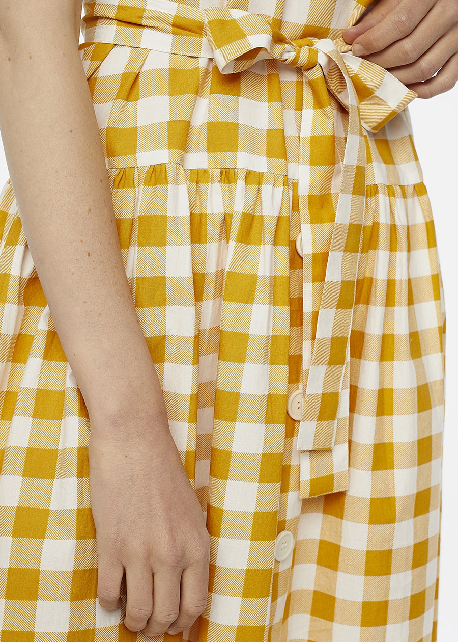 Yellow Check Midi Dress - cara cara