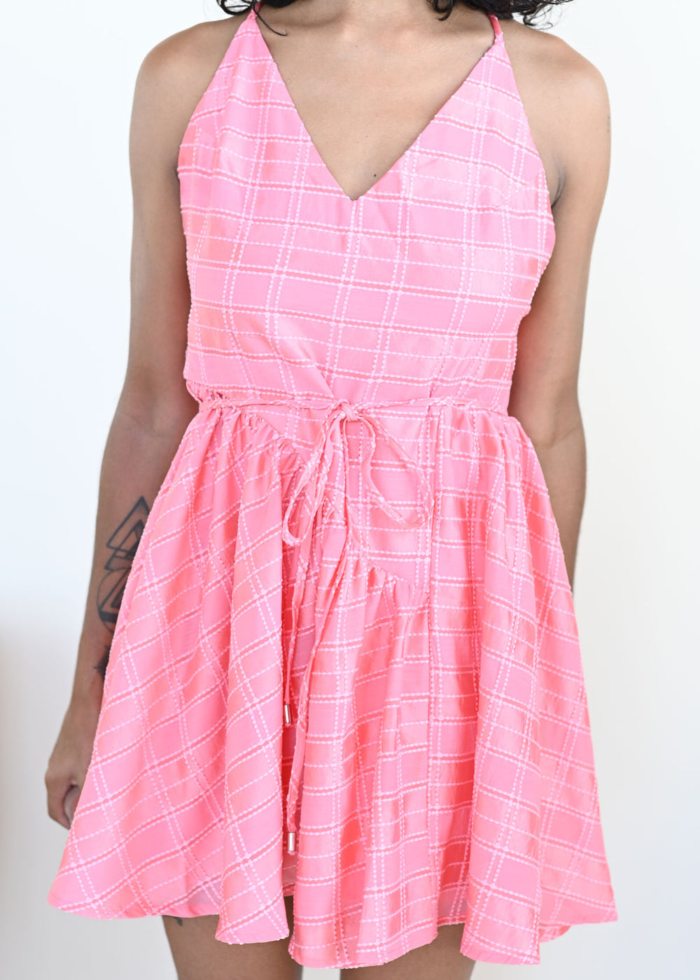 Same Things Mini Dress - Coral Check