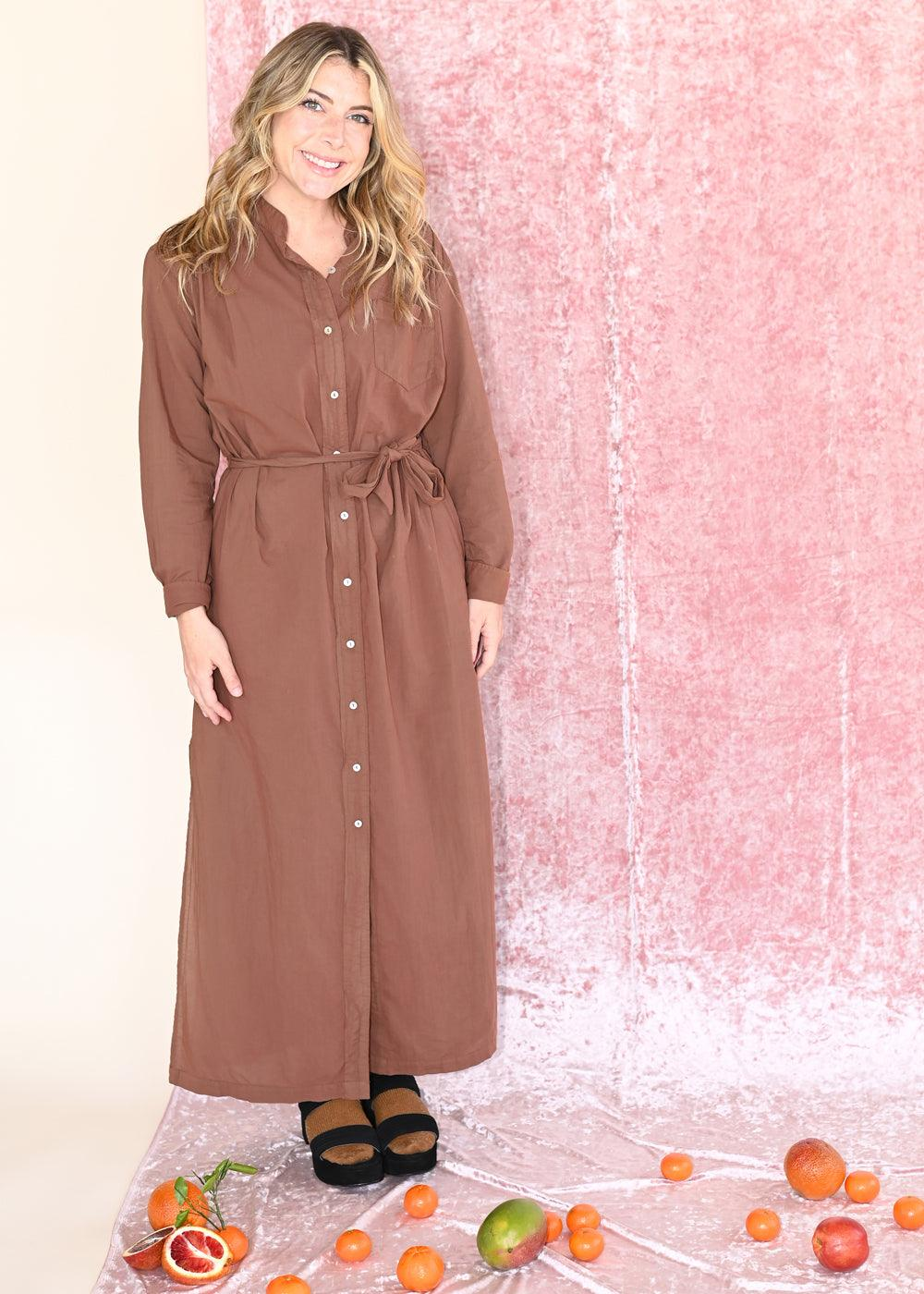 Button Front Shirt Dress - Caramel