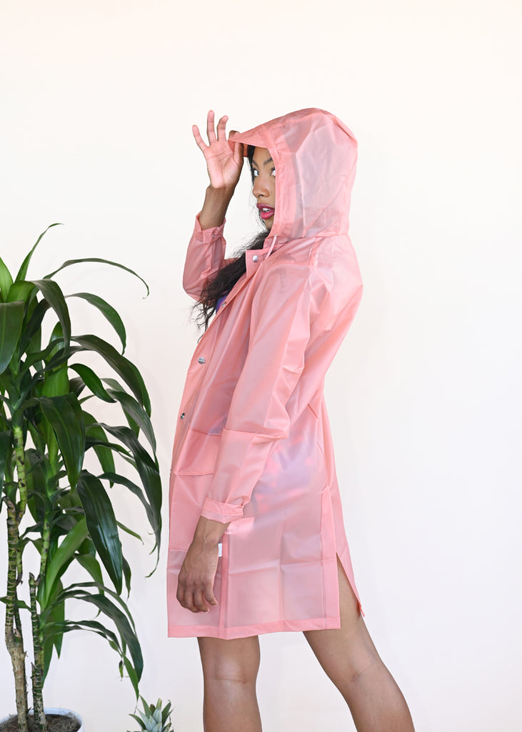 Transparent Hooded Coat - Foggy Coral