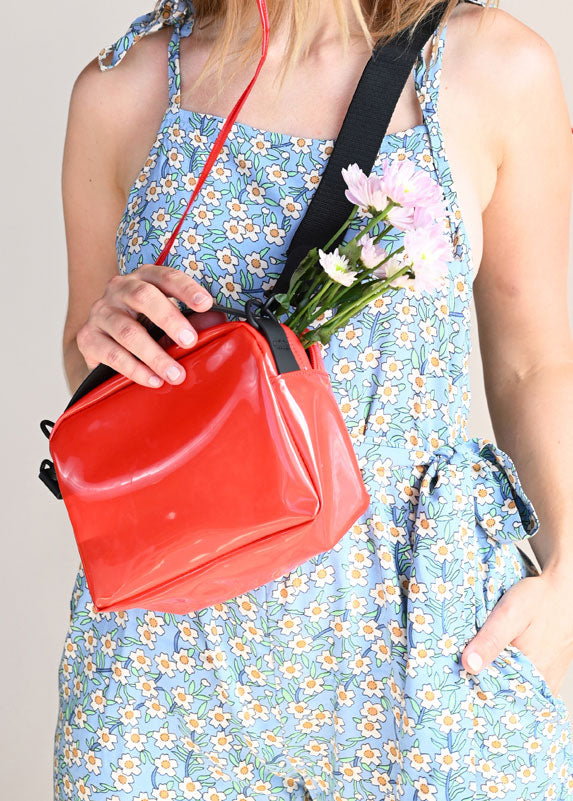Transparent Box Bag - Glossy Red