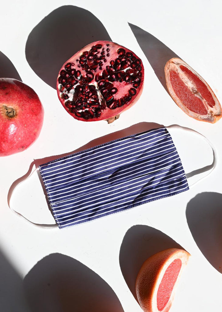 Face Mask, 10 Filters + Pouch - Navy Stripe