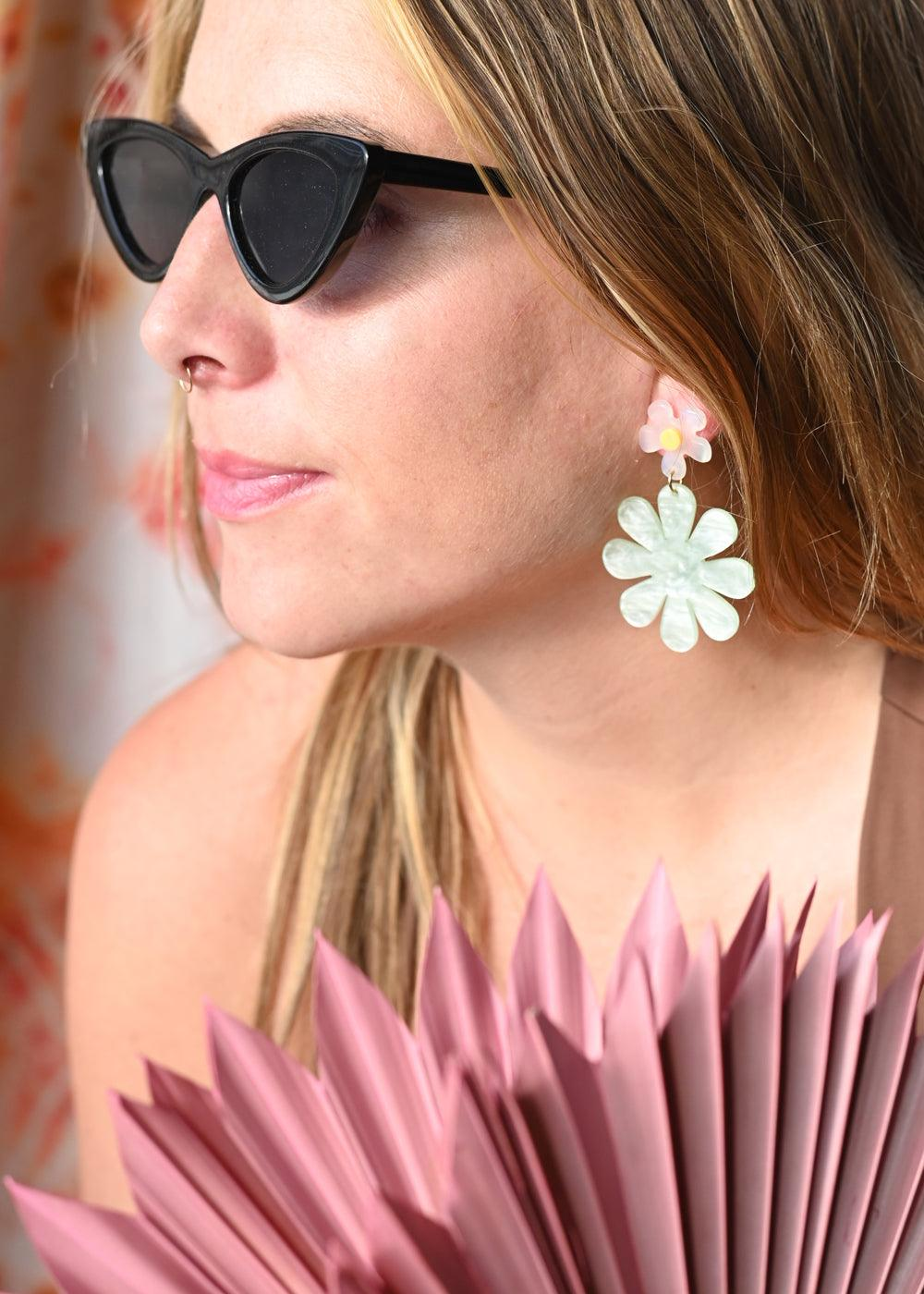 Green Daisy Earrings