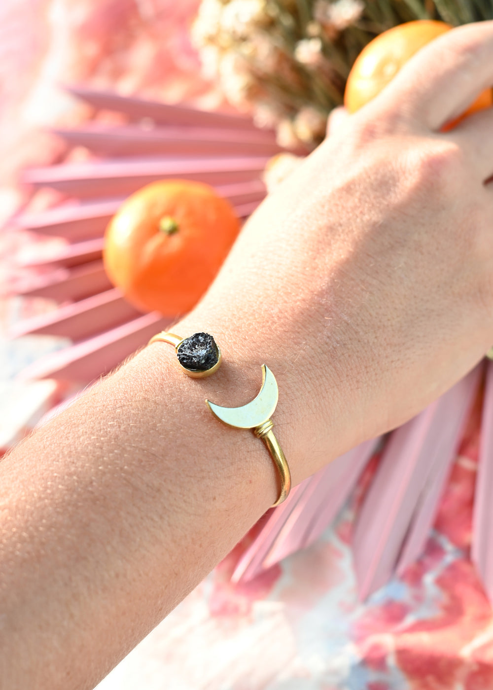 Stone and Moon Cuff - Tourmaline