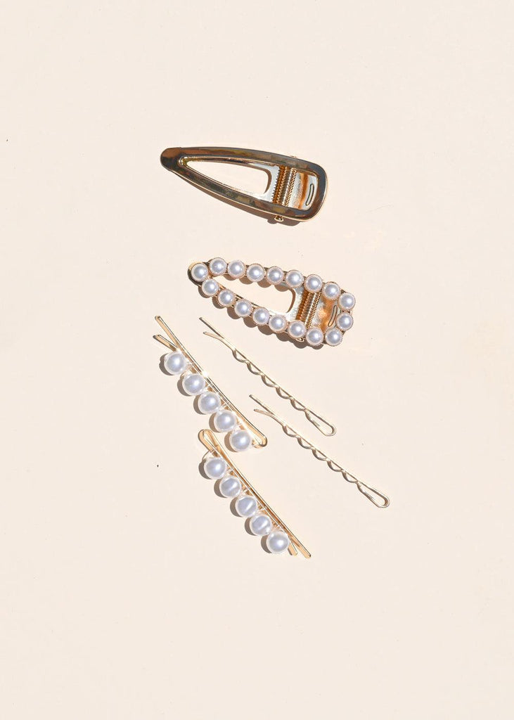 Fancy Barrette Set - Pearl - cara cara