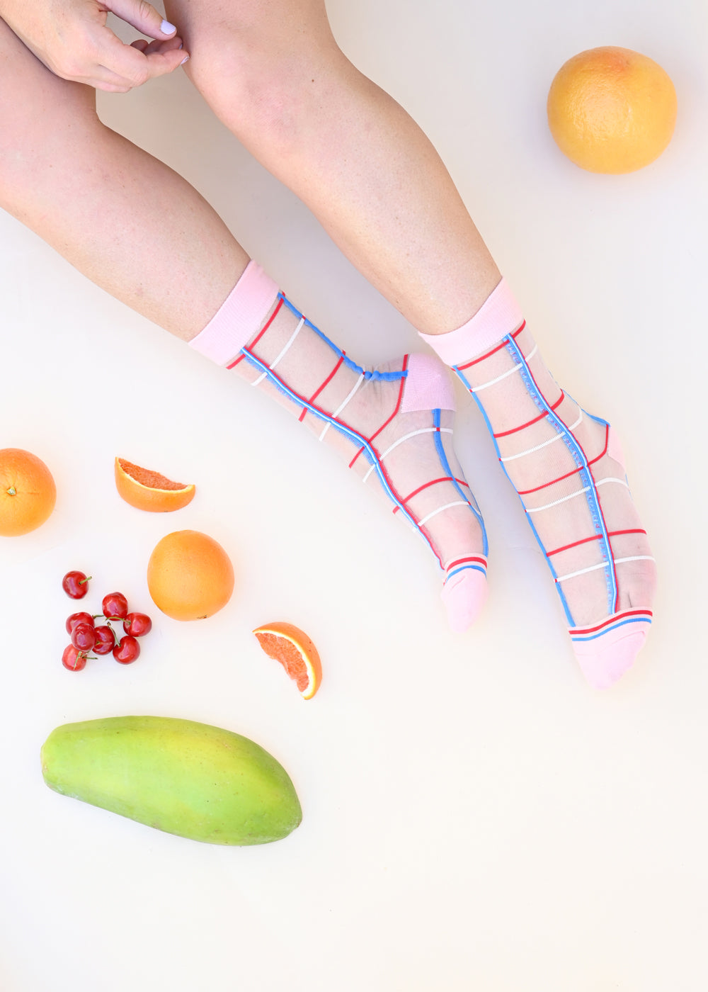 Window Pane Sheer Socks - Pink - cara cara