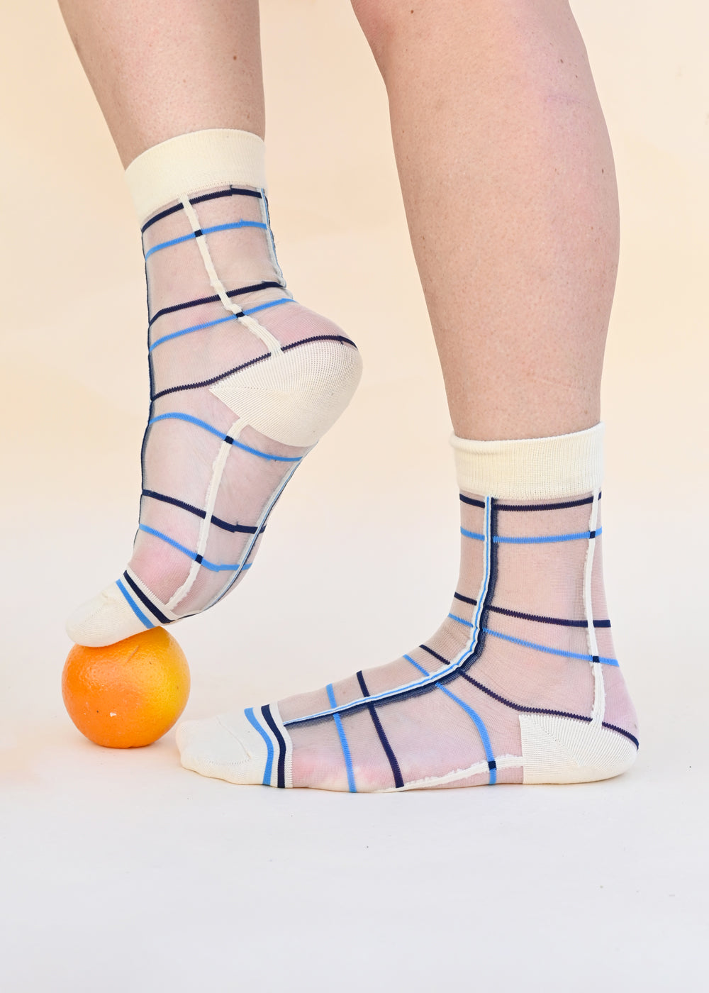 Window Pane Sheer Socks - Blue - cara cara