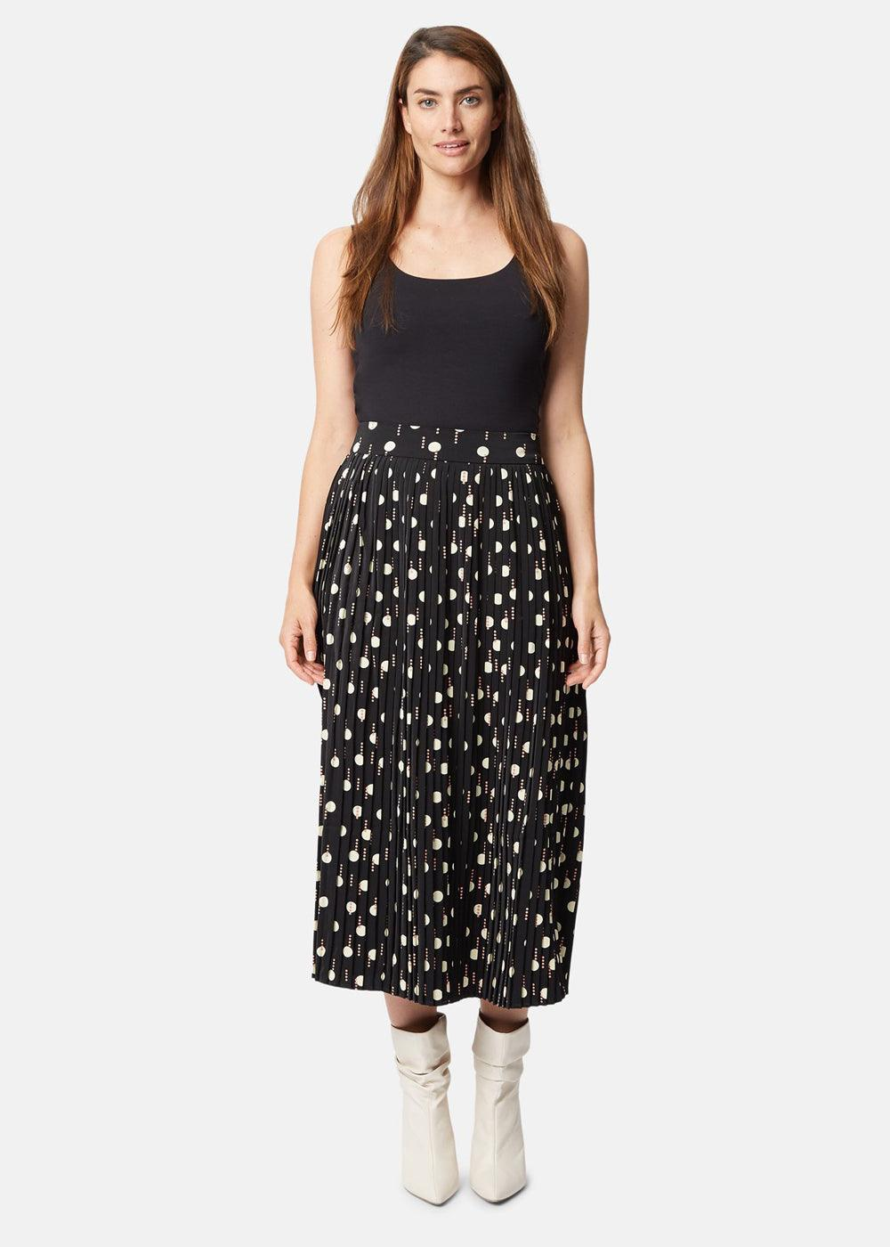 Pleated Midi Skirt - Dot