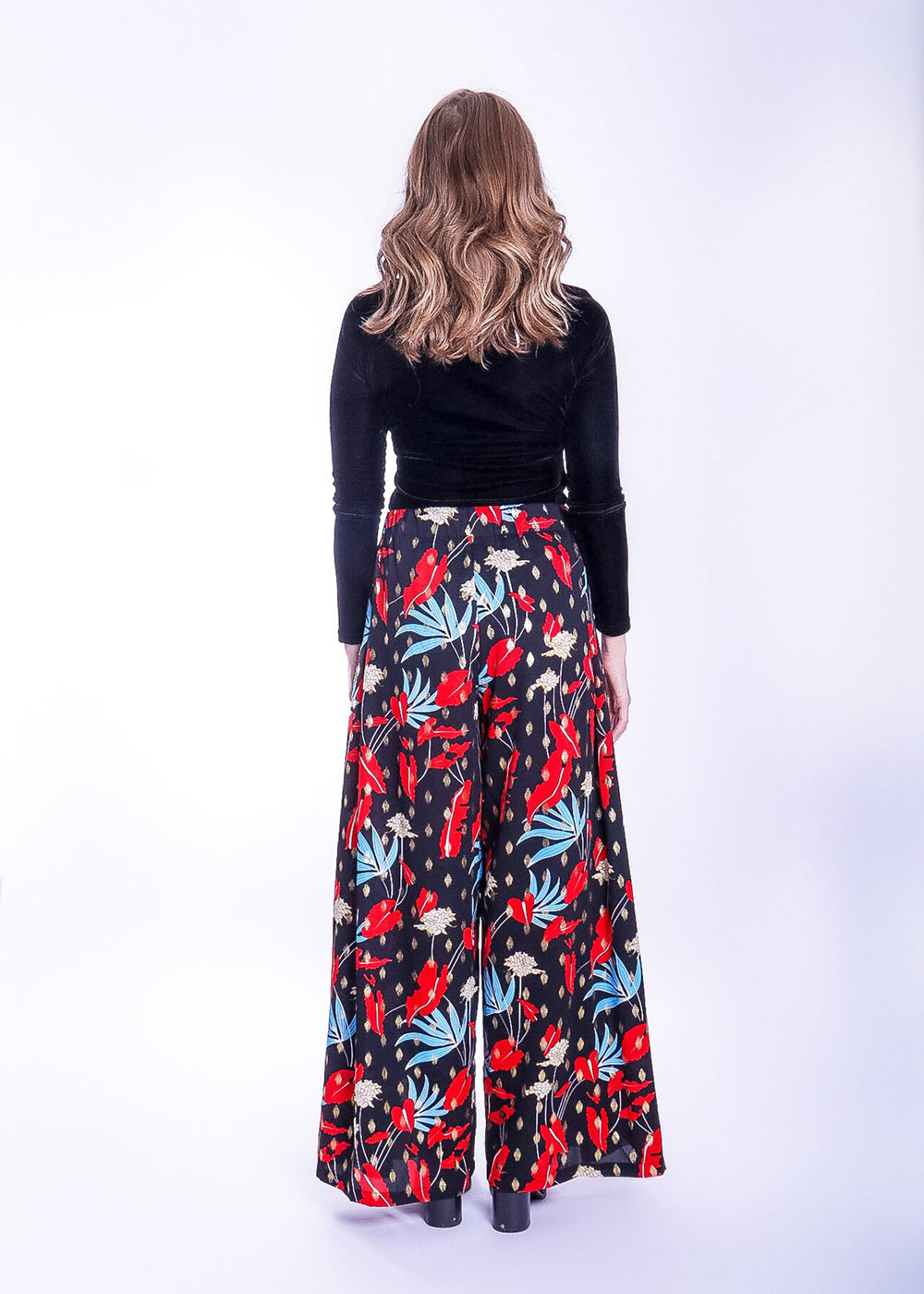Wide Leg Trousers - Floral Print