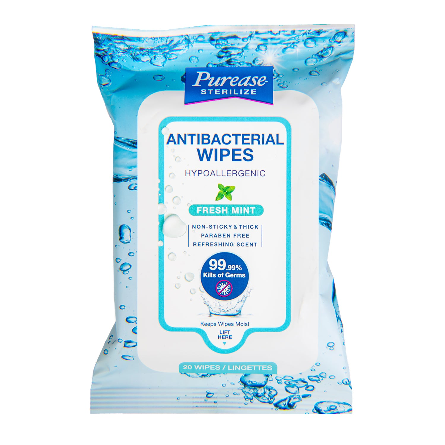 Purease Sterilize Antibacteral Wipes Hypoallergenic
