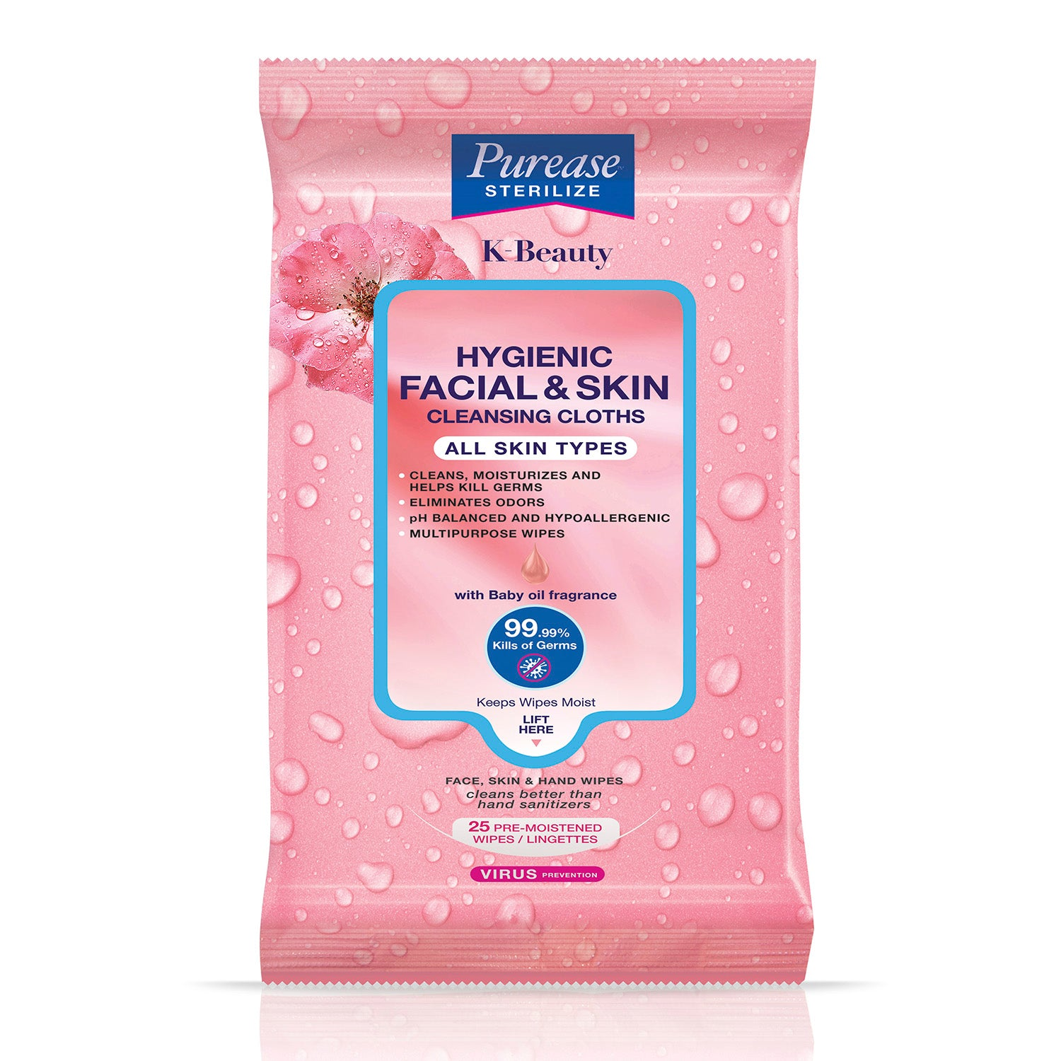 Purease Sterilize Hygienic Facial & Skin Cleansing Cloths