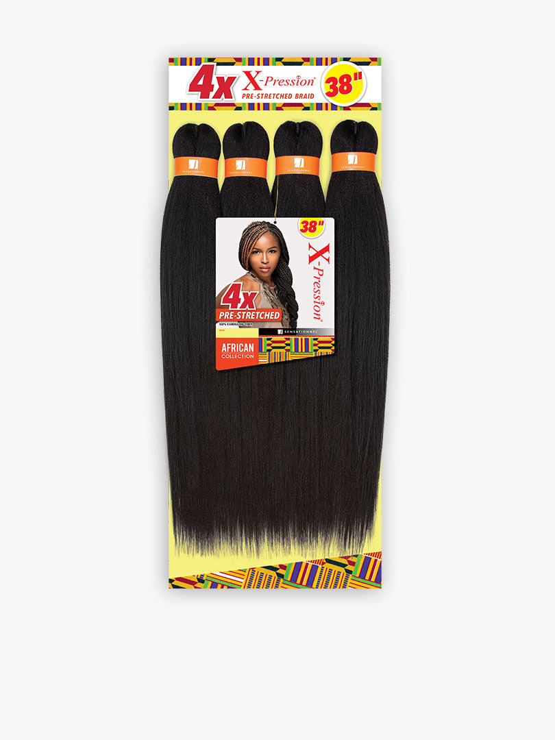 4X X-Pression African Collection Prestretched Braiding Hair 38""