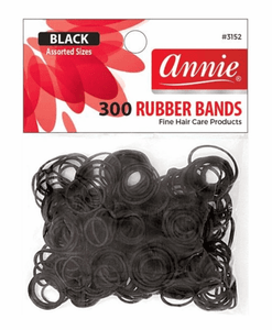 Annie-Black Rubber Bands Assorted 300 ct