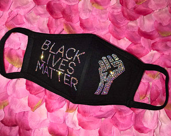 Fashion Mask- Black Lives Matter/Fist Jeweled