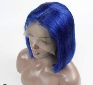 Human Natural Blue Natural Frontal Wig